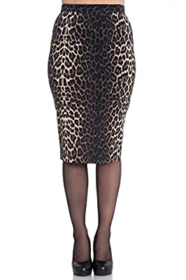 Hell Bunny Panthera Leopard 50s Vintage Retro Work Office Party Pencil Skirt