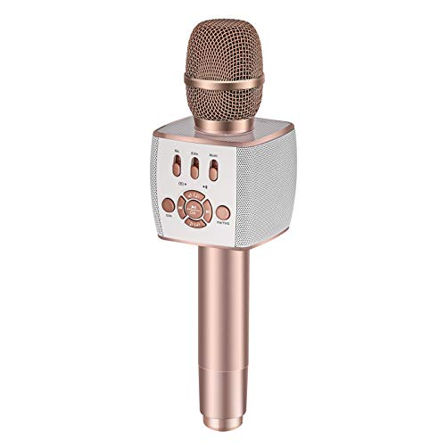 BONAOK 2021 Bluetooth Wireless Karaoke Microphone,Portable Karaoke Machine with Duet Sing for Car/Party/PC/All Smartphones X39 ROSE GOLD