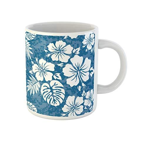 Awowee Coffee Mug Flower Aloha Hawaiian Pattern Hibiscus Hawaii Tiki Surf Polynesian 11 Oz Ceramic Tea Cup Mugs Best Gift Or Souvenir For Family Friends Coworkers