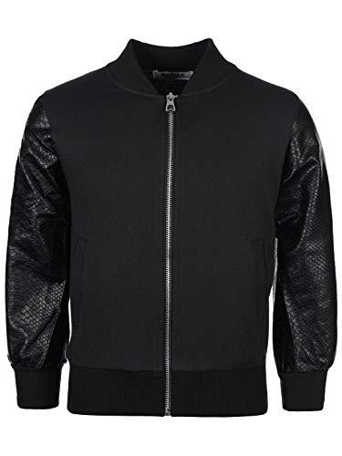My Rock Jungen Sweat College Sweater Jacke Kunstleder Langarm Pullover Hoodie 30172 Schwarz 104