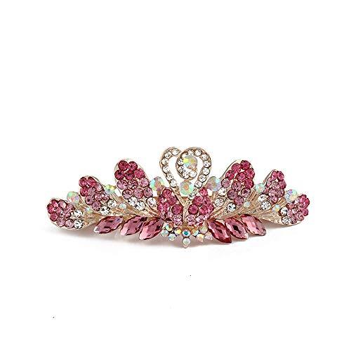 Horquilla para el pelo con cristales de imitación de mariposa para mujeres y niñas, elegante accesorio para el pelo, joyería de novia, para boda, color rosa