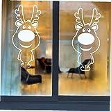AMOYER 2pcs de Navidad Pegatinas de Pared Grande de la Nariz del Reno Escaparate Decoración de Cristal Feliz Navidad para el Festival de Vinilo Inicio Mural Adhesivos