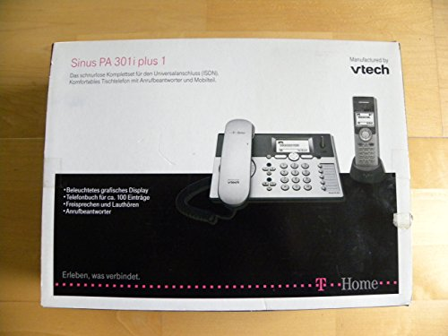 T-Home Sinus PA 301i Plus 1, ISDN-Tischtelefon mit Anrufbeantworter und zusätzlichem Mobilteil inkl. Ladeschale