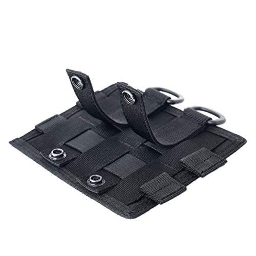 perfk Sac Tactique Extérieur en Nylon avec Agrafe et Boucle Multifonctionnel Militaire Taille Sac Combiné - Noir, 15.5x13cm