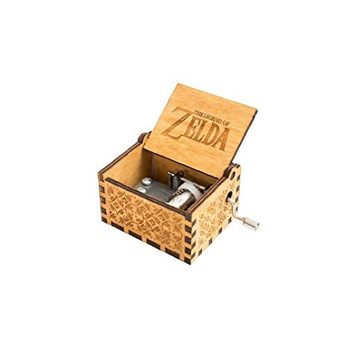 IUwnHceE ZELDA Music Box Holz Klassische Musik Box Geburtstags-Geschenk Handkurbel Klassische Antike Geschnitzte Holz Spieldosen Brown