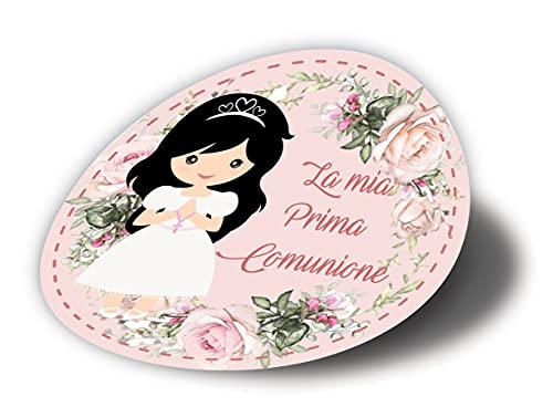 20 pezzi Adesivi tondi Prima Comunione Bimba, 40 millimetri, etichette cresima, thank you stickers, grazie, festa, tondo, rotondo, adesivi comunione bimba