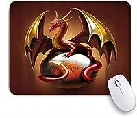 KAPANOUマウスパッド 黄金の翼を持つ漫画ドラゴン赤いドラゴン ゲーミング オフィス最適 高級感 おしゃれ 防水 耐久性が良い 滑り止めゴム底 ゲーミングなど適用 マウス 用ノートブックコンピュータマウスマット