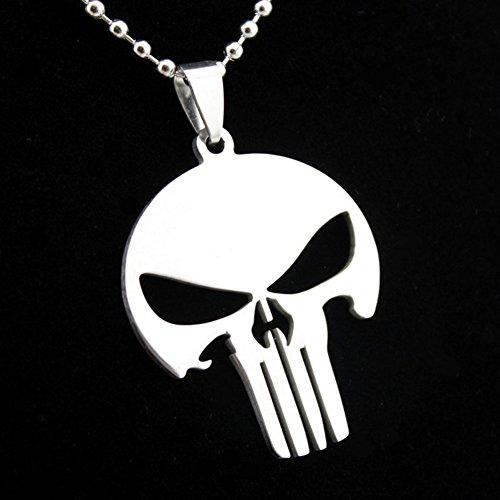 iFashionJewellery Collar con colgante de acero inoxidable para hombre y mujer, diseño de la calavera de Marvel