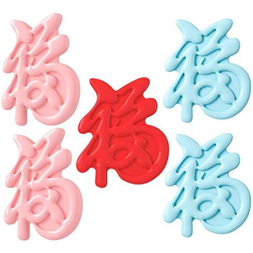 Kisangel 5Pcs Chinesischen Stil Brosche Pins Retro Harz Traditionelle Fu Charakter Breastpins Pullover Schal Schal Clips Abzeichen Pins Modeschmuck Geschenke Gemischte Farbe