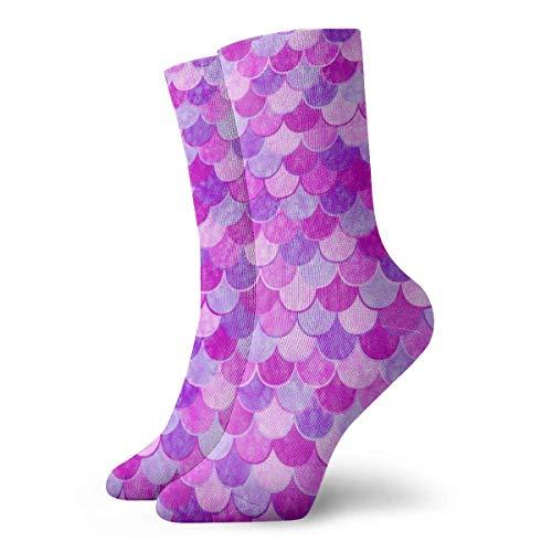 Calcetines deportivos deportivos personalizados con escala de sirena rosa para hombres/mujeres para baloncesto
