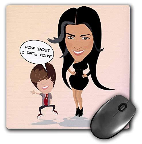 3dRose 8 x 8 x 0.25 Inches Mouse Pad, Kim Kardashian and Justin Bieber Date (mp_127720_1)