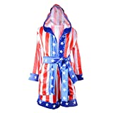 Classic Movie Clothes Apollo American Flag Children Boxing Costume Robe Cloak Hooded Shorts Kids Italian Stallion Suits (Red/White/Blue, L)