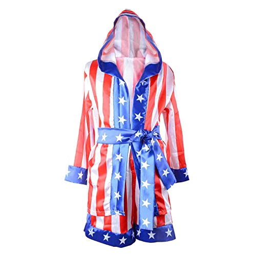 Classic Movie Clothes Apollo American Flag Children Boxing Costume Robe Cloak Hooded Shorts Kids Italian Stallion Suits (Red/White/Blue, M)