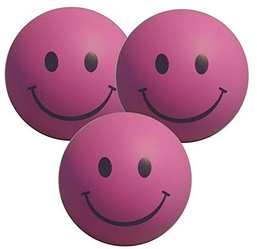 Stressballs 3 x Rosa – Smiley Stress Ball - Antistressball , Knautschball – Kleiner Ball, Grosse Stresserleichterung