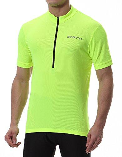 Spotti Men's Cycling Bike Jersey Short Sleeve with 3 Rear Pockets- Moisture Wicking, Breathable, Quick Dry Biking Shirt (Hi-Viz Yellow, X-Large)
