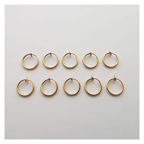 CHENGTAO 2pc / Pack Clip Retráctil De Acero Inoxidable En Pendientes Sin Perforación para Mujeres Niñas Orejas De Oreja Oarnings Clips (Metal Color : 10 pcs Gold)