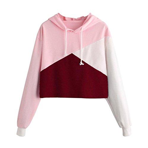 ESAILQ Damen Sommer Damen Spitze Patchwork Armelloses Crop Top Weste Tank Basic Shirt Oberteile (S,Rosa)