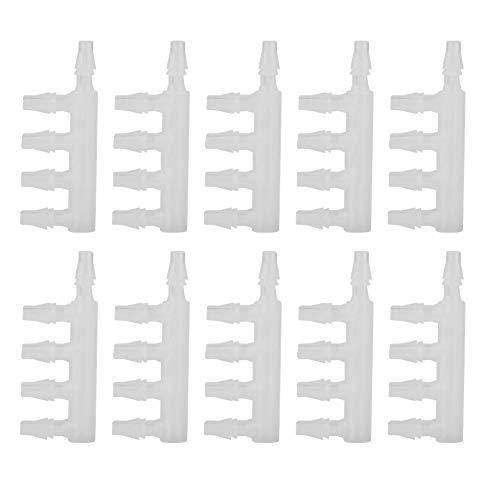 10Pcs Acuario Manguera de control de flujo de aire Manguera Control de flujo de aire de cinco vías Bomba de agua Distribuidor divisor Manguera Tanque de pescado Tubo divisor Accesorios de la bomba de