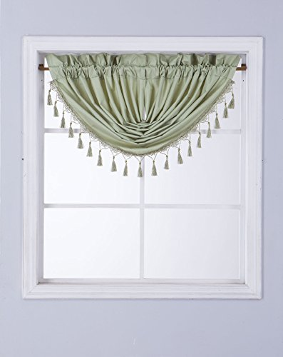 GorgeousHomeLinen (RS8) 1 Short Decorative Rod Pocket Foam Lined Blackout Silk Swag Waterfall Window Curtain Valance for Kitchen, Living Room, Bedroom, Nursery, Basement & Bathroom (Sage Green)