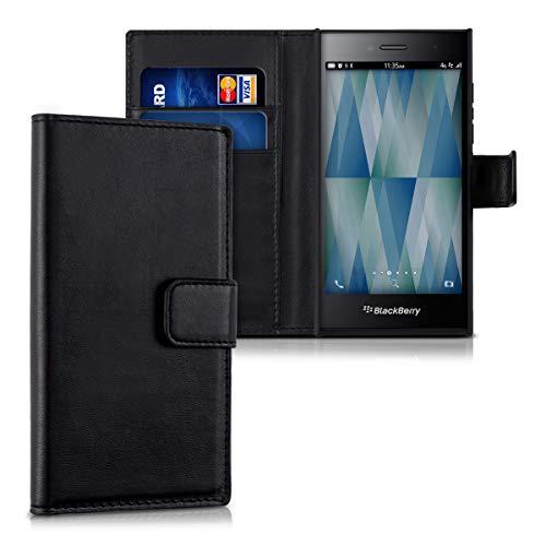 kwmobile Hülle kompatibel mit BlackBerry Leap - Kunstleder Wallet Case mit Kartenfächern Stand in Schwarz