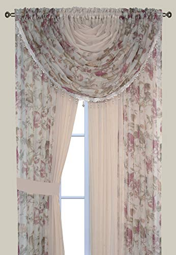 Complete Window Sheer Voile Curtain Panel Set with 4 Attached Panels (55x84