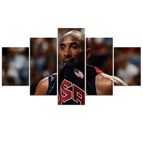 Kobe Impreso Pintura Modern Classic NBA Basketball Star Black Amamba Peter Pan Photo Picture Canvas Poster HD Works Decor De Arte De Pared De Sala De Estar Casera, 5 Piezas, Sin Marco,D,XL