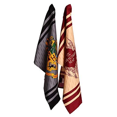 Elbenwald Harry Potter Geschirrtücher Set mit Hogwarts Wappen und Karte des Rumtreibers 45 x 65 cm 100% Baumwolle 2er Set beige grau