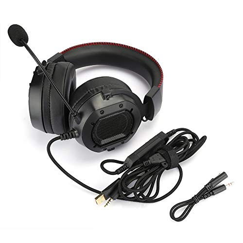 Rosvola Headset Ergonomic Design Headphone ABS Material Durable for Game PC Laptop PS4(Black and red (horse racing RGB light))