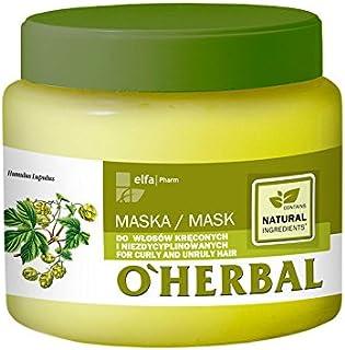OHerbal Mascarilla Pelo/Cabello Rizado Y Rebelde Profesional Natural Hidratante Ecológica Sin Sulfatos Ni Siliconas Con E...