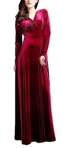 Abendkleid Damen Lang Ballkleid Elegant Langarm V Ausschnitt High Waist A Linie Cocktailkleid Vintage Samt Unique Empire Abschlussball Partykleider Lange Kleider Für Mädchen