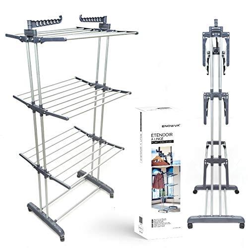 Enowva Mobiler Wäscheständer Wäschetrockner-Turm Seitenflügel auf 3 Ebenen klappbar, mit 4 leichtläufigen 360° drehbar Rollen und Davon 2 mit Feststellbremse