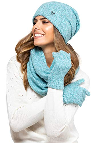 Kamea Anna Ensemble d'hiver pour femme, 2pièces composés d'une écharpe pré-roulottée et d'un bonnet d'hiver, fabriqué en Union européenne - Turquoise - Taille unique