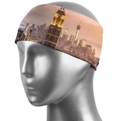 Verctor Bandes de Cheveux Larges New York City Skyline avec des Gratte-Ciel urbains à Su Hair Bands Unisex Moisture Wicking