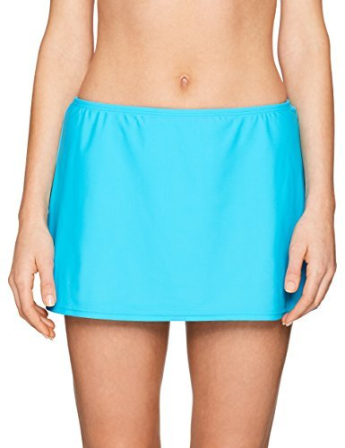 24th & Ocean Women's Solid Skirted Hipster Bikini Swimsuit Bottom, Turquoise/Green, Small