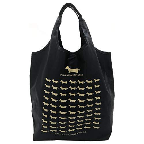 優美社 トートバッグ エコバッグ 角型 マチ付き 犬柄 ブラック 約縦37×横32×マチ21cm WHOLLY コンパクト 折りたたみ 買い物袋 犬 ブラック 3L02-01