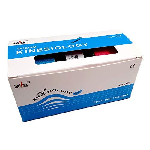 3x NASARA Kinesiologie Tape im Set * 5m x 5cm (3er 1x blau 1x pink 1x schwarz)