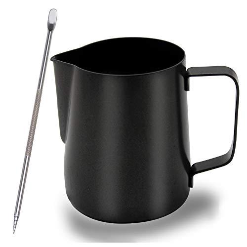 OneChois Milchkännchen, 600 ml Milk Pitcher Edelstahl milchkanne Aufschäumkännchen Kaffee Creamer Milch Aufschäumer Kännchen Tasse with Latte Art' Pen perfekt für Barista Cappuccino Espresso (600ML)