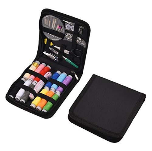 YOUZHI Kit de costura mini kit de costura accesorios portátil con funda de transporte para el hogar, viajes, adultos, principiantes, niños, uso de emergencia (negro)