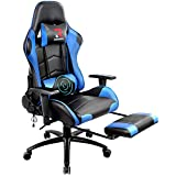 Rimiking Massage Gaming Chair with Footrest Computer Chair Adjustable Swivel Recliner with Headrest and Lumbar Pillow Desk Chair (Blue)