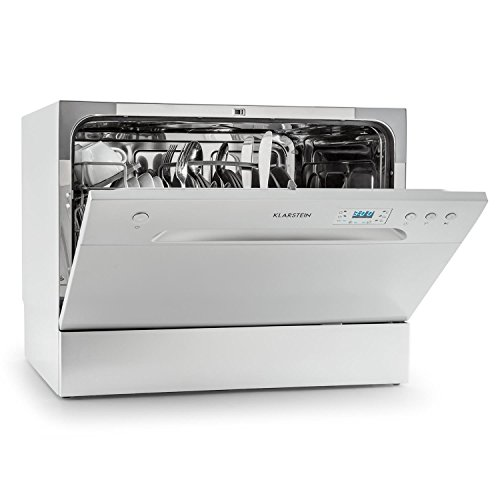 Klarstein Amazonia 6 Table Dishwasher - Class A+, 1380 W, 6 Place Settings, 49 dB, Energy Efficient Design, Low Noise Level, Includes Cutlery Basket Extra Support, Easy to Clean, Silver