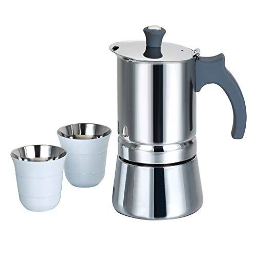 ROSSETTO Cafetera italiana 6 tazas en acero inoxidable con mango gris + 2 tazas de café espresso (1 Cafetera + 2 Tazas blancas)