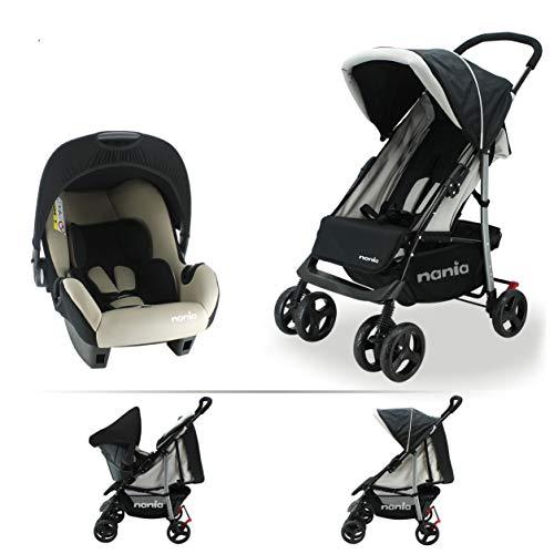 Nania Texas Kinderwagen für Kinder von 6 bis 36 Monaten mit Liegeposition + Beone Autositz empfohlen 4 Sterne ADAC Grp 0+ (0-13 Kg)