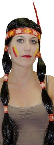 Générique - Pe113 - Perruque Indienne Nattes Bandeau Plume - Taille Unique