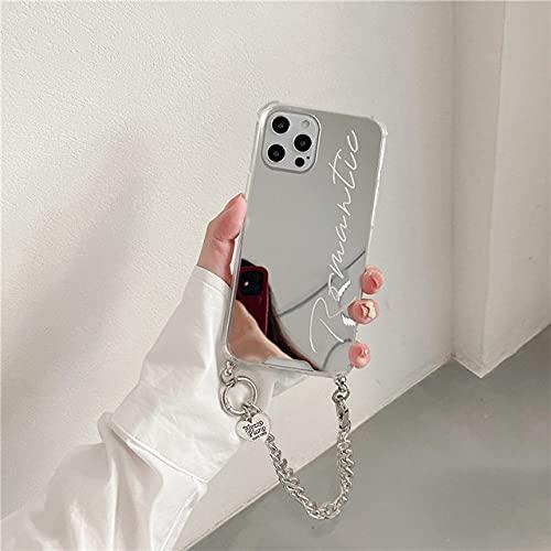LIUYAWEI Estuches de Cadena de cordón Cruzado con Espejo para niña de Lujo para iPhone 7 12 Mini 11 Pro MAX 8 Plus X XS XR MAX Funda Trasera de Moda, 2, para iPhone 7 Plus