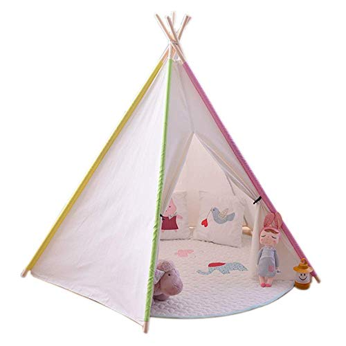 kyman Children Play Tent Kids Teepee Tent For Girls Childrens Playhouse Wigwam With Window For Indoor Outdoor Hideout Cotton Canvas Pine Wood Poles Toys for Girls/Boys Kids (Style : B) Automatic Camp