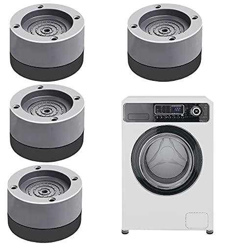 Schwingungsdämpfer Waschmaschine, Vibrationsdämpfer, 4 Stück Anti Vibration Waschmaschine Fußpolster, Verstellbares Gummi Fußpolster Antivibrationsmatte für Waschmaschinen und Trockner