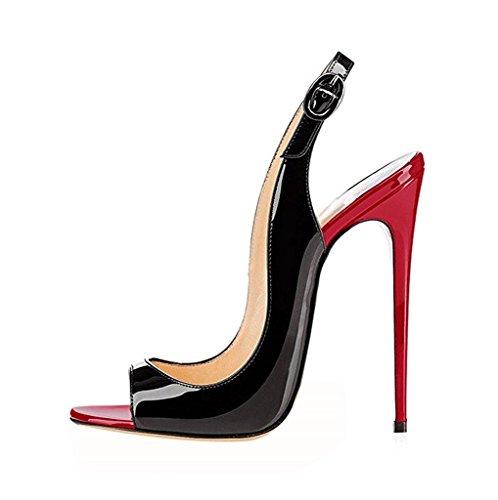 EDEFS - Scarpe da Donna - Sing Sandali Donna - Sexy High Heels - con Cinturino alla Caviglia - RedBlack - Taglia 36