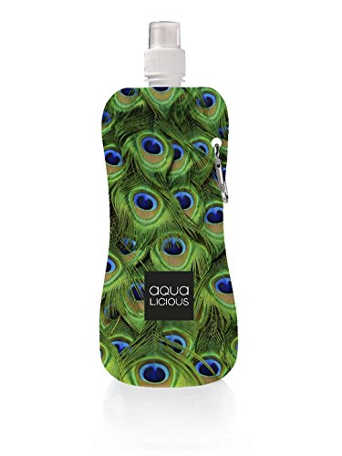 Preisvergleich Produktbild Aqua-Licious Faltbare Trinkflasche,  mit Karabinerhaken,  wiederverwendbar,  mit Motiven