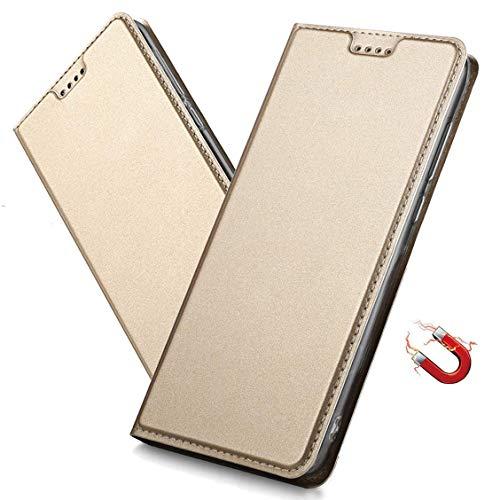 MRSTER Huawei Y6 2018 Hülle, Honor 7A Tasche Leder Schutzhülle, Handyhülle mit Magnetverschluss, Standfunktion & Kartenfach für Huawei Y6 2018 / Honor 7A. DT Gold