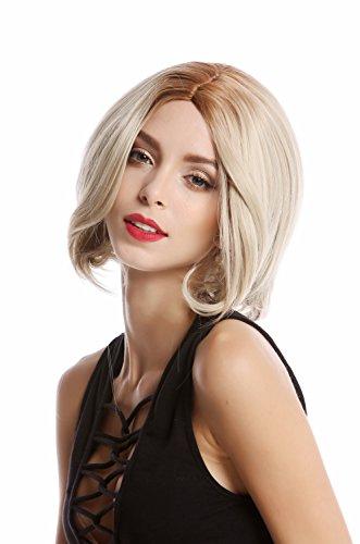 WIG ME UP - YZF-4360-24B/613B Perruque dame carré court hauteur d'épaules pointes recourbées mélange blond raie centrale